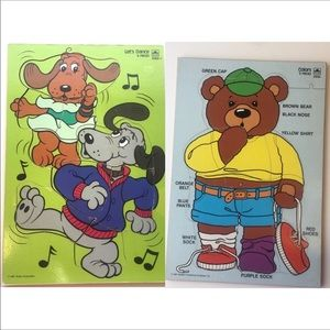 80's Lets Dance Dogs Colors Teddy Bear Wood Puzzle